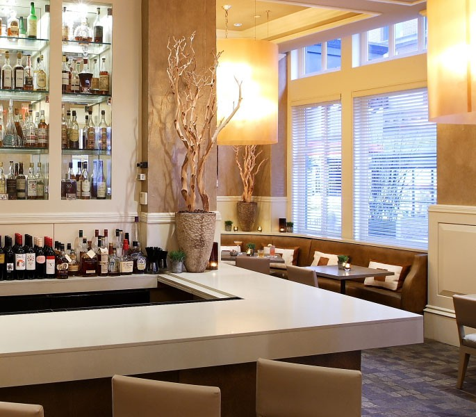 white marble bar located with in our restaurant, Mooo
