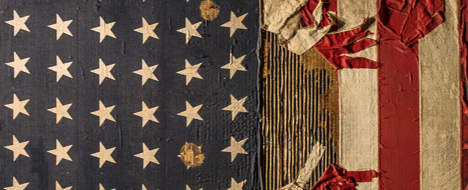 Distressed American Flag artwork that is showcased in the hotel.