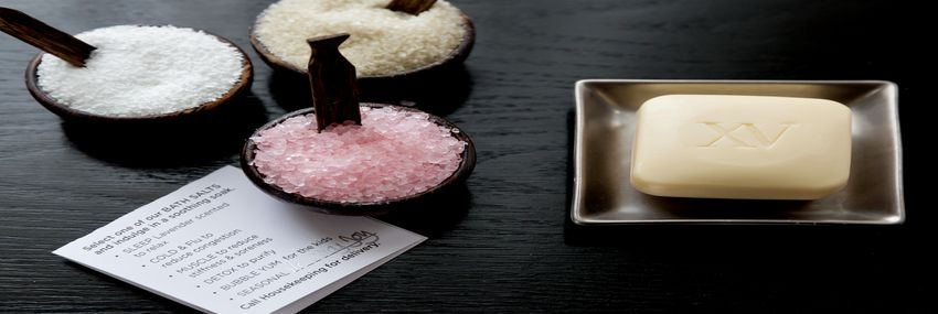 Three samples of our seasonal bath salts that are complimentary year round for our guests.