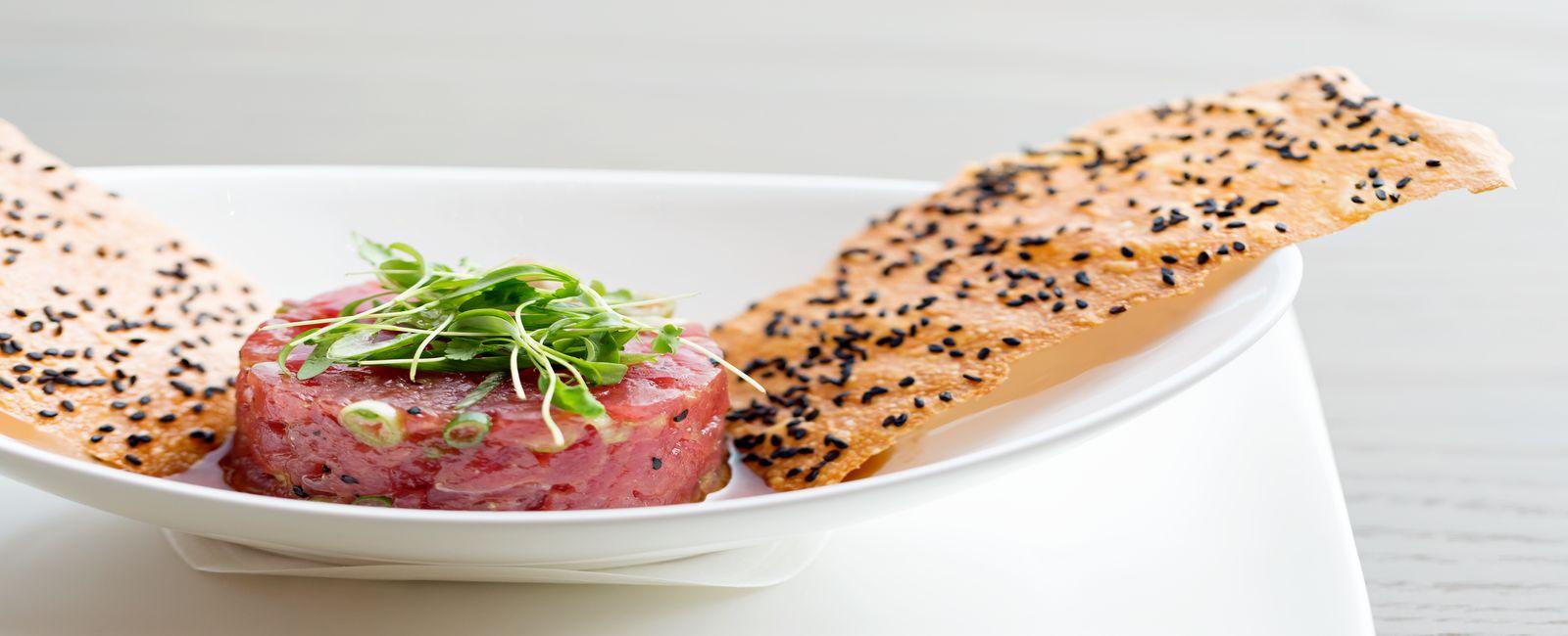 Food Presentation of our Tuna Tartar in Mooo Restaurant.