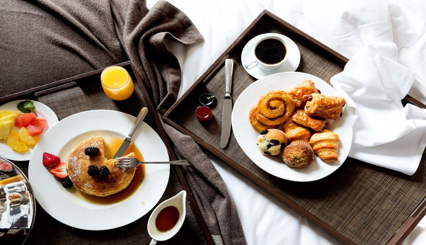 Breakfast in bed with fresh muffins, croissants, and pastries. Maybe you would like our famous pancakes? Both are available in Mooo restaurant or through room service.