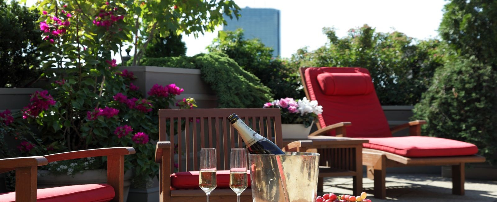 Photograph of our roof deck during the summer season. Bottle of champange and fresh grapes are showcased on the table as you are allowed to bring food and beverages up at your leisure