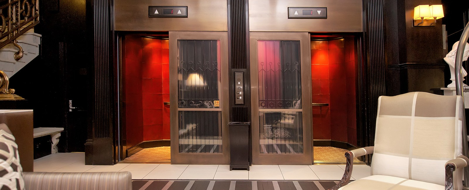 Hotel lobby's historic elevators that is an original feature of the building dating back to 1903