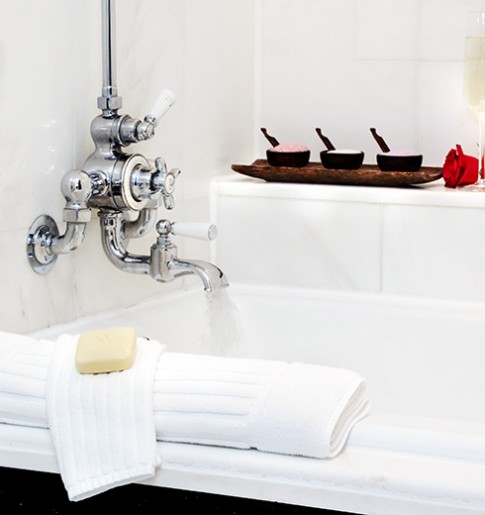 bathtub featured in several of fifteen beacon's guestrooms. Seasonal bath salts are available upon request.