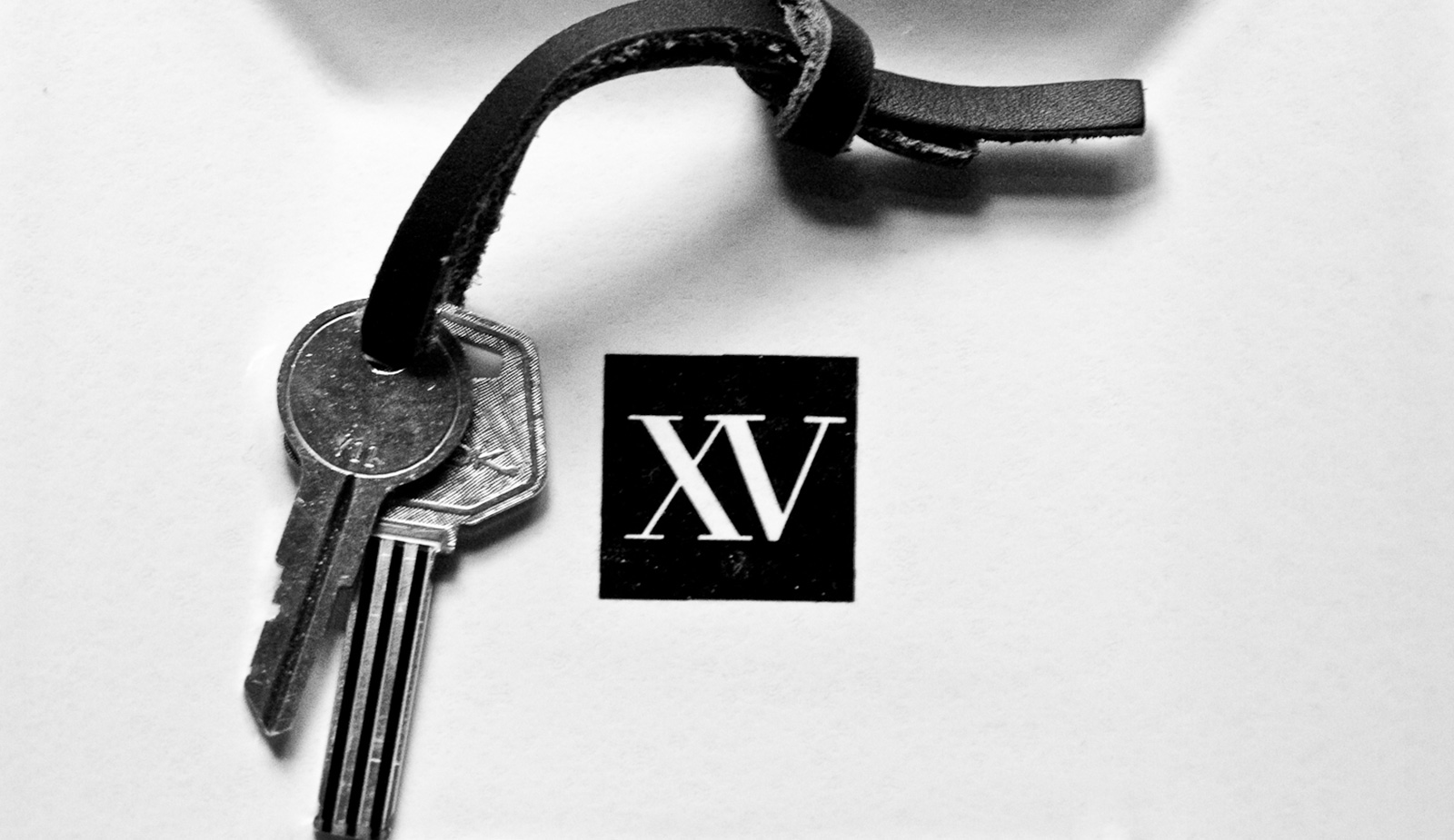 black and white photo of fifteen beacon's old room keys