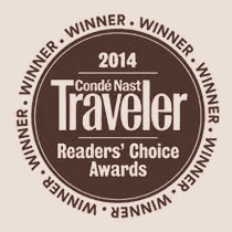 photograph of our award from 2014 Reader's choice awards from Conde Nast Traveler.