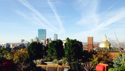 Photo of XV Beacon's roof deck during the fall season