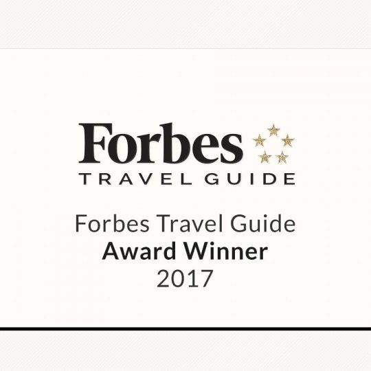 Picture of our achievements from Forbes Travel Guide back in 2017.