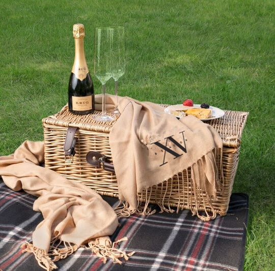 Fifteen Beacon's picnic basket that is available through room service and can be brought outside to enjoy on the Boston Commons Park.