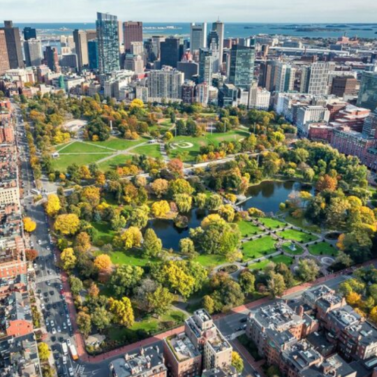 ariel view of Boston during the fall season