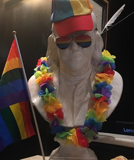 Gay Pride Statue for our Drag me to Brunch Package Promo