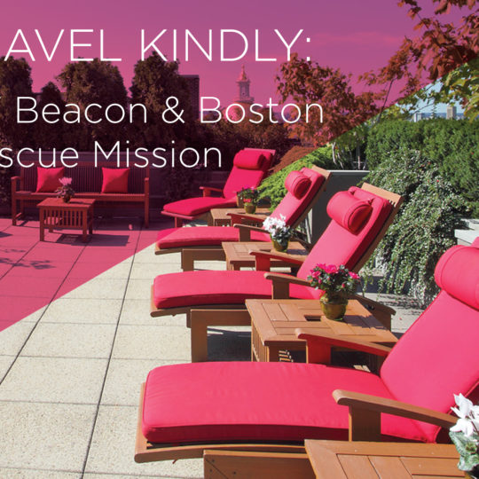 XV Beacon's Summer Roof Deck with the King Traveller Logo attached on the top right